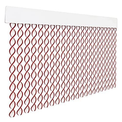 HOME MERCURY – Cortina espiral para puerta exterior o interior, material PVC – libre de insectos (200x90CM, Blanco+Filo Granate R6)