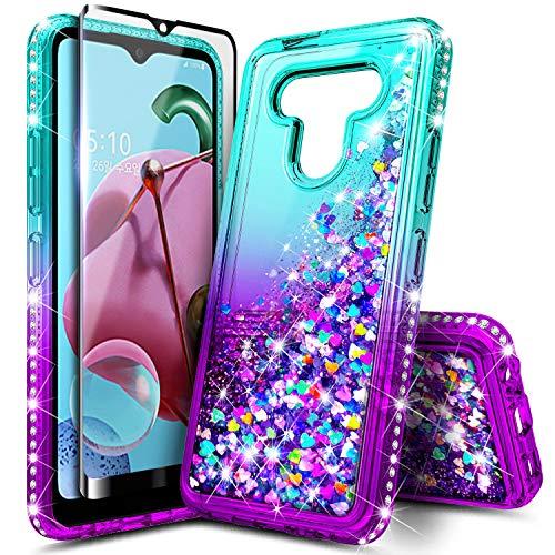 E-Began LG K51, LG Reflect LTE (L555DL), mit Bildschirmschutzfolie aus gehärtetem Glas (vollständige Abdeckung), glitzernde Flüssigkeit mit Glitzer, für Mädchen & Frauen, Kinder, niedlich, aqua/lila