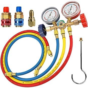 Manifold Gauge Hose Air Conditioner Refrigerant Maintenance R134a