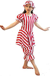 Dance-Solo-Sea Side-World Book Day-Edwardian-Victorian STRIPED BATHING BELLE & MOP CAP Available in 2 colours - All Ages