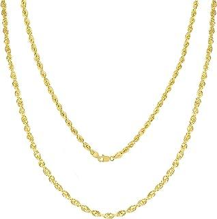 Cadena de oro de 10 quilates con corte de diamante de 1,5 mm – 4 mm para hombres y mujeres – 16 – 30, cierre de langosta, ...