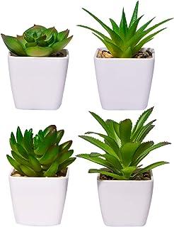 YHmall 4pcs Plantas Artificiales Decoracion Exterior de Suculentas con Macetas Plásticas de Interior y Exterior para Cocin...