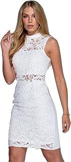 Ladies Scallop Hem Crochet Lace Bodycon Dress US Size 2-10