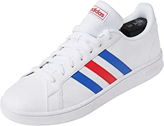 adidas Grand Court Base, Scarpe da Tennis Uomo, Ftwr White/Blue/Active Red, 48 EU