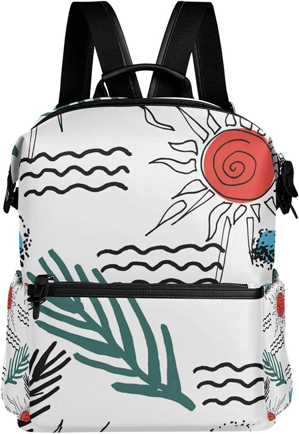 MONTOJ Hand Painted Sun River Leather Travel Bag Campus Backpack