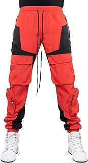 بناطيل Chenkaifang للرجال بدون مجهود، سراويل رياضية ذات خياطة كبيرة الحجم، سراويل كارجو متعددة الجيوب (اللون: أحمر، المقا...