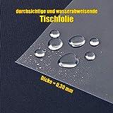 laro Tischfolie Tischdecke Transparent Durchsichtig Abwaschbar Garten-Tischdecke Tischschutz-Folie PVC Plastik-Tischdecken Wasserabweisend Eckig 0,3 mm Dicke Meterware |07|, Größe:90x90 cm - 3