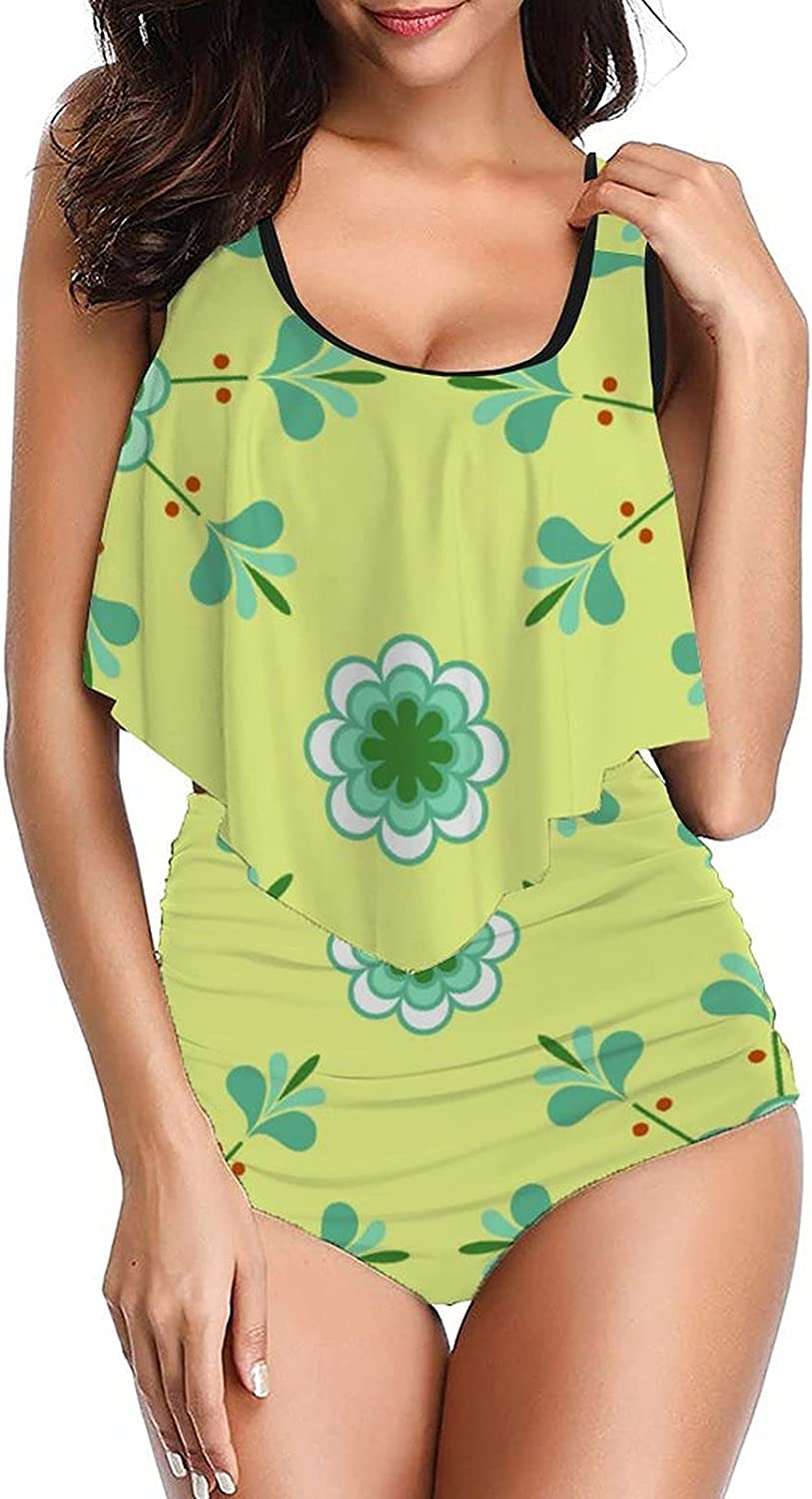 Women Pattern-15 Swimsuit Design Tankinis top with High Waisted Bottom Bikinis Set Two Pieces Bathing Suits