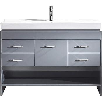 Virtu USA MS-575-C-GR-NM Gloria Bathroom Vanity, 48 inches, Cool Gray