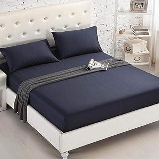 MMMWQ Drap-housse uni 100 % coton avec bande élastique pour lit double Queen King Size Transparent 150 x 200 x 20 cm