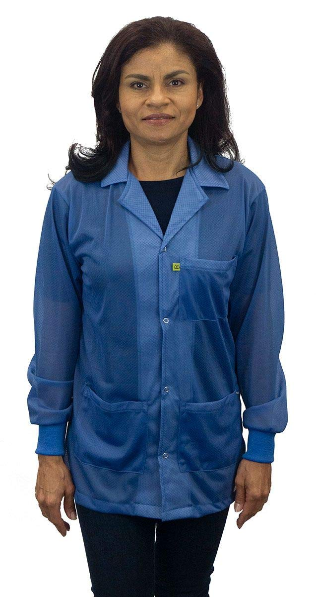9406 Series ESD Jacket with Lapel Collar, 3 Pockets & Snap Cuffs, Royal Blue, 3X-Large