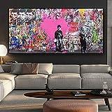 KWzEQ Cartel Abstracto Graffiti Street Pop Art Wall Picture Sala de Estar decoración del hogar Mural,Pintura sin Marco,75x150cm