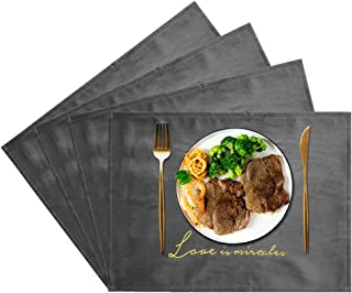 JTX Placemats Set of 4 for Dining Table Place Mats Heat Resistant Velvet Place Mats Non-Slip Washable Table Mats Protect The Table from Messes (Grey)