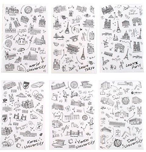 6 hojas de pegatinas de colores scrapbooking , para la decoración de calendario, teléfono inteligente, ordenador, Macbook, libro, cuaderno, taza NOVAGO (Vuelta al mundo X6)