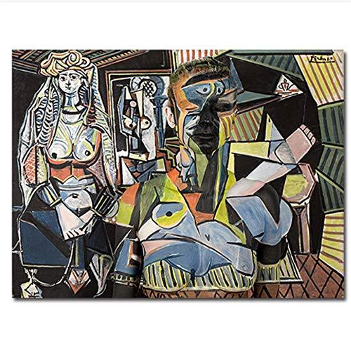 YaShengZhuangShi Impresión en Lienzo 60x90cm sin Marco Las Mujeres de Argel por Pablo Picasso Póster e Impresiones Cuadro de Artista clásico Abstracto para Oficina en casa