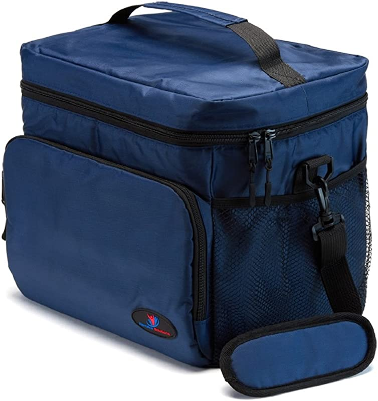 Insulated Lunch Box For Men Lunch Cooler Bag Lunch Boxes For Adults Large Lunch Bag Nylon Mens Lunch Box By Ramaka Solutions Non Toxic Food Grade Base Plate 11 6 X 9 1 X 10 6 Inches Navy