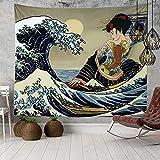 KHKJ Japan Ocean Wave Tapisserie Kopfteil Wandkunst Tagesdecke Wohnheim Tapisserie für Wohnzimmer Schlafzimmer Wohnkultur A23 150x130cm