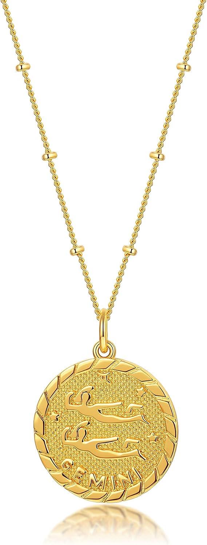 espere Astrology Zodiac Necklace in Gold   Horoscope Zodiac Pendant Coin Medallion Necklace 18-20''