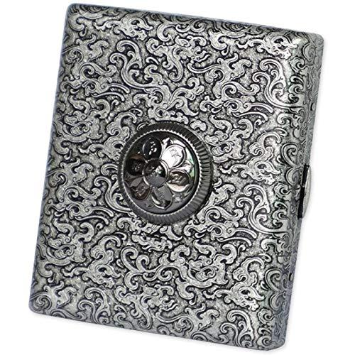 YIJIN Caja de Cigarrillos Portátil,Patrón de Zarcillo de Grabado de Metal de Latón Retro, Cuentas de Giro, Caja de Cigarrillos Súper Delgada Portátil