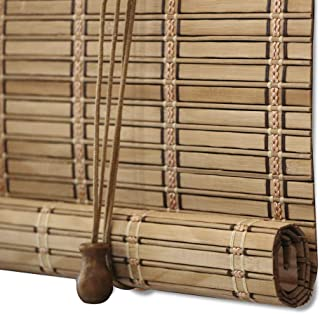 ZY Blinds Bamboo Window Blinds, Light Filtering Roll Up Blinds with Valance, 76