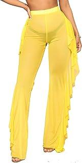 Doqcey Women's Perspective Sheer Mesh Ruffle Pants...