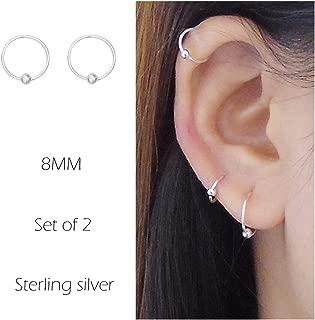 Sterling Silver Cartilage Earrings Piercing Earring Nose Rings Hoop for Women Men Girls