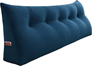 VERCART 100% Polyester Sofa Bed Large Soft Upholstered Headboard Filled Wedge Cushion Bed Backrest Positioning Support Reading Pillow Office Lumbar Pad with Removable Cover Deep Blue Queen