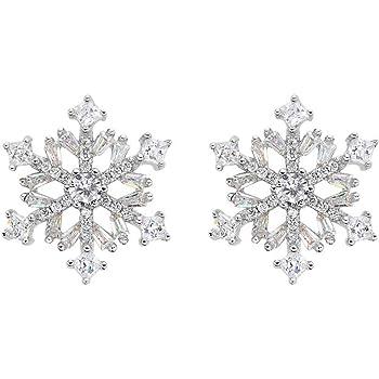EVER FAITH 925 Sterling Silver Cubic Zirconia Winter Snowflake Flower Elegant Stud Earrings Clear