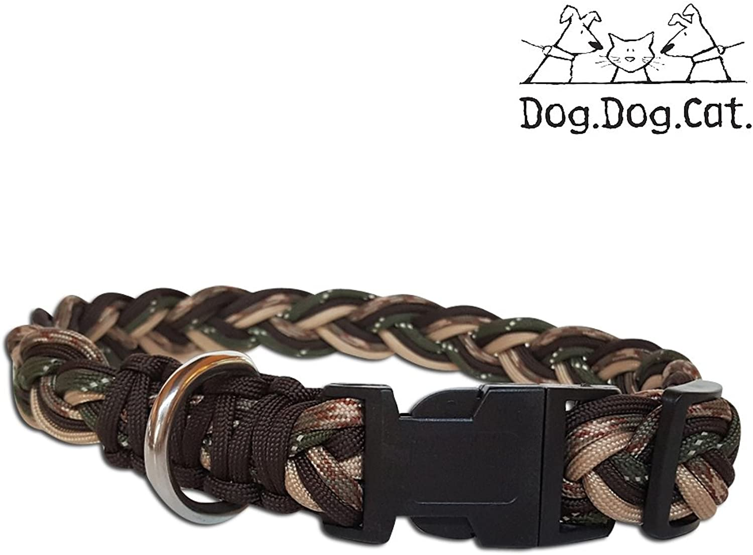 Paracord Dog Collar (Large 15   24 , Camo Reflective)