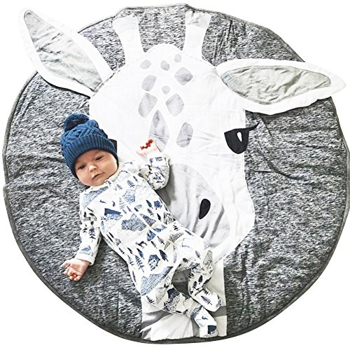 Lzttyee Cotton Round Giraffe Nursery Rug Baby Floor Playmats Crawling Mat Game Blanket for Kids Room Decoration Dark Gray