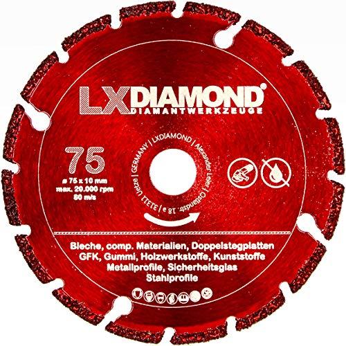 LXDIAMOND Disco de corte de diamante 75 mm x 10,0 mm, disco de diamante para vidrio de seguridad, metal, hierro y plástico, apto para amoladora angular de batería, 76 mm