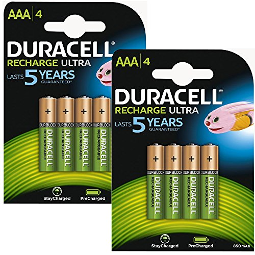 Duracell AAA Rechargeable Batteries Duralock Pre and Stay Charged 850mAh - Value 8 Pack