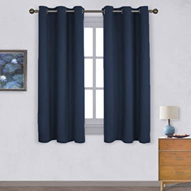 NICETOWN Light Blocking Thermal Insulated Solid Grommet Top Blackout Curtains/Drapes/Panels for Kid's Room (Navy, 1 Pair, 42 x 63 Inch)