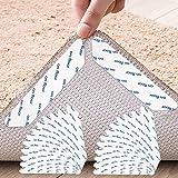 TATAFUN Teppichgreifer Antirutschmatte, 24 Stück Waschbar Antirutschmatte für Teppich Wiederverwendbar Teppichunterlage Aufkleber Starke Klebrigkeit (Weiß)
