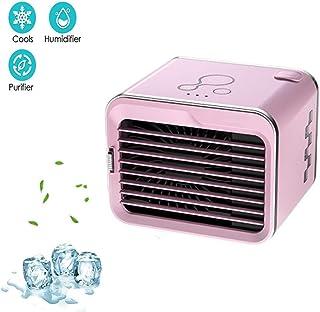 Ventilador de Aire Acondicionado Portátil para la Oficina en Casa Ventilador de Escritorio sin Ruido 3 Velocidades de Viento Ajustables Bajo Consumo de Energía (Color : Pink)