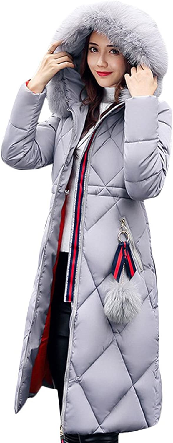 Gamery Women Winter Long Parkas Coat Jackets with Faux Fur Hood Plus Size
