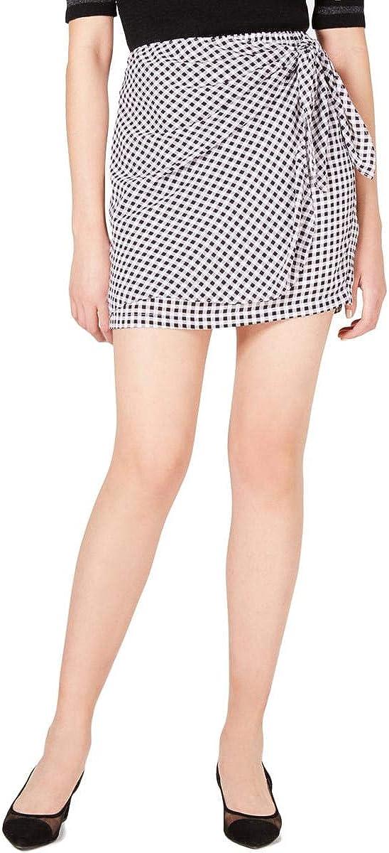 Maison Jules Womens Checkered Side Tie Mini Skirt