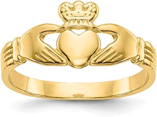 14k Yellow Gold Baby Irish Claddagh Celtic Knot Band Ring Size 3.00 Fine Jewelry Gifts For Women For Her