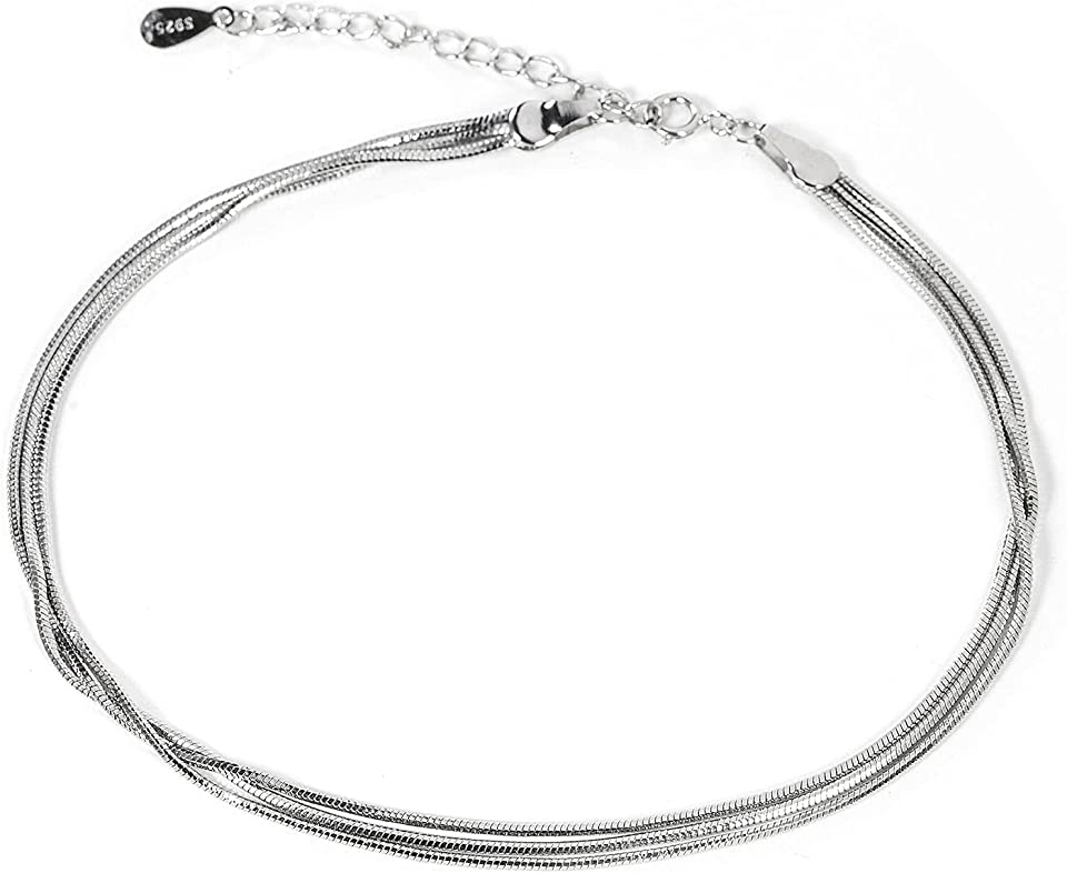 925 sterling silver anklets for women, simple dainty Layered anklet for teens girls fashion adjustable beach 10 Inch ankle chain(with Gift Box)