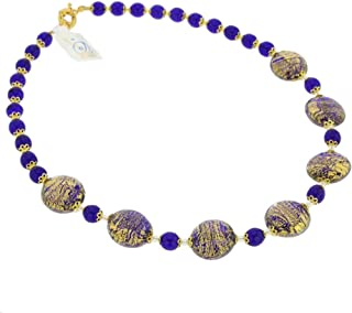 GlassOfVenice Murano Glass Necklace Ca D'oro - Cobalt Blue