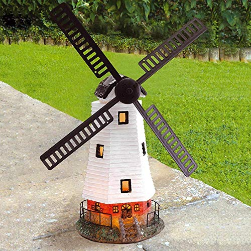 PopHMN Garden Ornament Windmill, Solar Powered Automatic Windmill Waterproof with Led Light for Garden Ornament