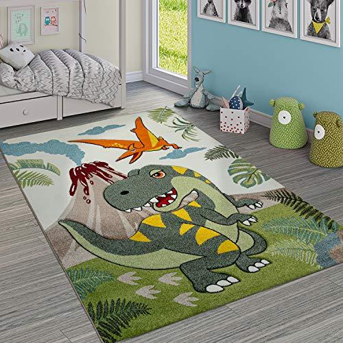 Paco Home Kinderzimmer Teppich Grün Dinosaurier Dschungel Vulkan 3-D Effekt Kurzflor, Grösse:80x150 cm