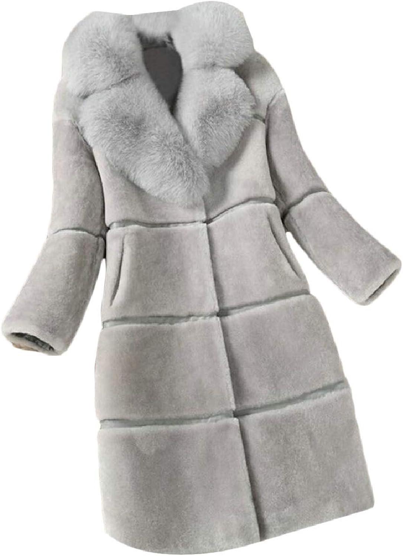 CBTLVSN Women's Mid Long Length FauxFur Collar Faux Fur Overcoat Jacket Outwear