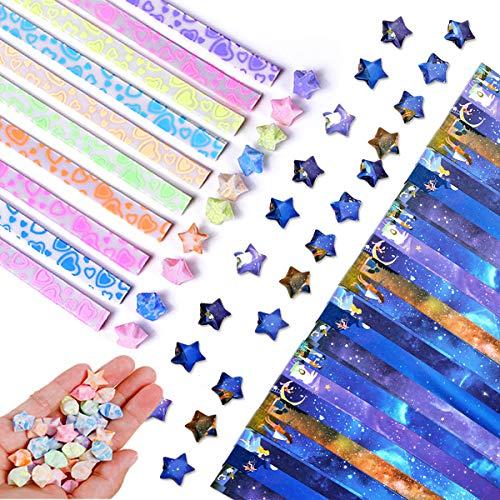 Papel Origami Star(860 Hojas),Doble Cara Origami Estrellas,Lucky Star Tira,Origami Papel Estrellas,Tiras De Papel Con Purpurina Para Origami,Origami Paper Craft Papel Plegable Starry Sky Papel