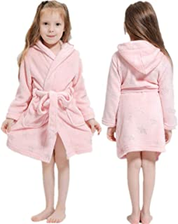 LEYUANA Kids Star Rainbow Hooded Bath Robe,for Boys Girls Pajamas Nightgown Kids Sleepwear