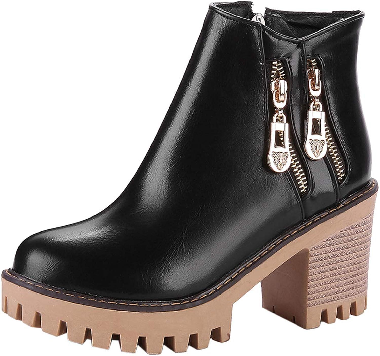 Vitalo Womens Platform Chunky Block High Heel Ankle Boots Zip Up Short Bootie