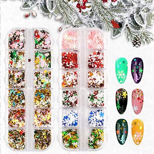 24 Boxes 3D Snowflake Christmas Nail Sequins - Snowflake Nail Glitter Manicure, Xmas Nail Art Stickers for Winter, Nail Stickers for Christmas and Holiday Party