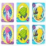 Unishop 6 Piezas Pegatinas Antideslizante Infantiles para Bañera, Adhesivos para Bañera y Ducha con Dibujos de Niños y Bebés, Accesorios de Baño (Tipo 1)
