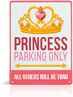 Princess room decor - Decorative Aluminum Pink Princess Parking Only Street Sign. Cute Bedroom art for little girls room. Put the poster away & fill her room with Fun tin wall art princess toad signs!