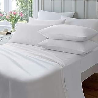Adore Home Sábana bajera ajustable de franela y funda de almohada de algodón cepillado térmico individual doble king, 65% algodón, 35% poliéster., Blanco, 50x74cm